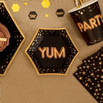 Glitz & Glamour Black & Gold Small Yum Plates (8)